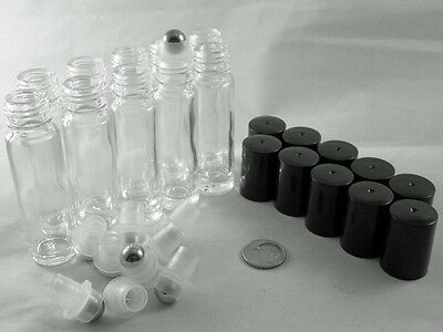 10Pc Roll-on Metal Stainless STEEL Roller Ball BOTTLE container 10ml perfume oil