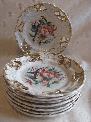 """8 Antique German Bavaria hand painted plates reticulated floral gilt 8"""""""