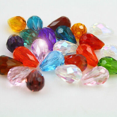 Hot 50pcs Faceted Glass Crystal Charms Making Teardrop Spacer Loose Beads 5x3mm