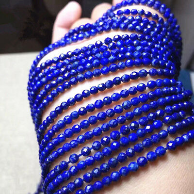 4mm Faceted Blue Sapphire Gemstone Loose Beads 15""