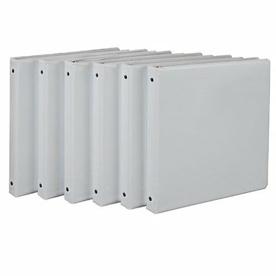 Economy View 3 Ring Binder Round Ring 1 inch White Office - 6 Pack Binders