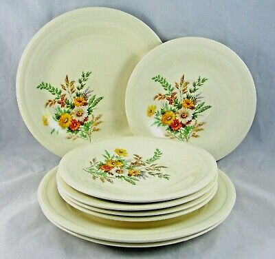 Edwin M Knowles China Wildflowers Set of 3 Salad Plates and 5 Saucers USA
