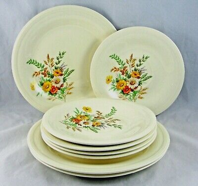 Edwin M Knowles Wildflowers Set of 3 Salad Plates and 5 Saucers Cottage USA
