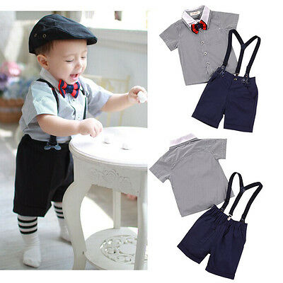 1 toddler Boys Gentleman Party Short Shirt + Tie+ Braces Pants Sets 3pcs 4-5Y