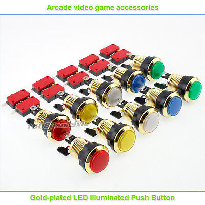 10x Gold plated LED Illuminated Push Buttons For Arcade DIY KIT Parts MAME JAMME
