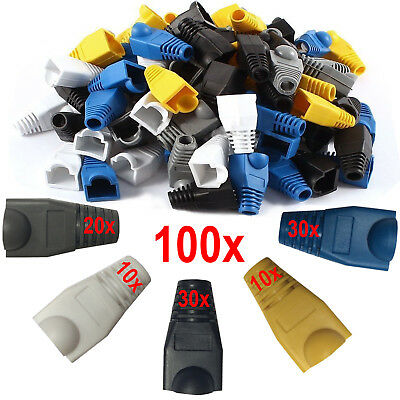 100 x RJ45 Cat5e Cat6 Ethernet Network Cable End Connectors Cover Protector Boot