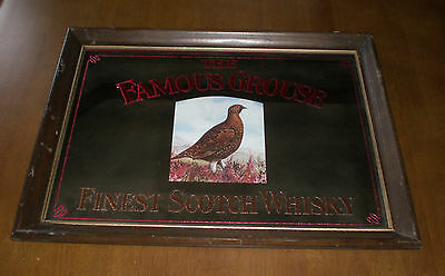 Famous Grouse Finest Scotch Whisky Wood Framed Mirror - Vintage