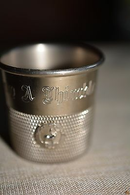 VINTAGE SILVER PLATE ''ONLY A THIMBLE FULL'' JIGGER CUP SHOT OLD FORGE, N.Y
