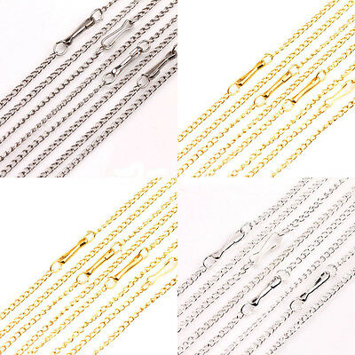 NEW 10/50Pcs 2X1mm Gold/Silver/White K Plated Filigree Metal Chain Necklace