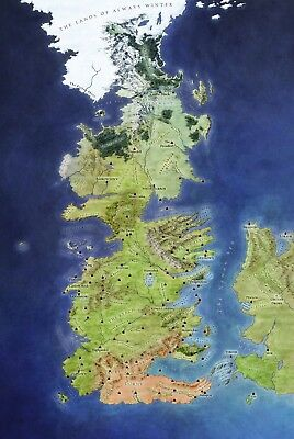Game of Thrones Westeros Map Poster #1   DVD BluRay Boxset Book Ice Fire Martin