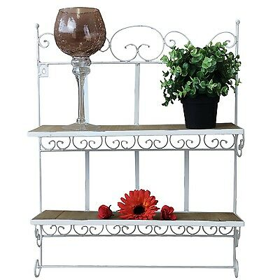 garderobe metall shabby chic landhausstil wandregal k chenregal metallregal rost eur 29 99. Black Bedroom Furniture Sets. Home Design Ideas