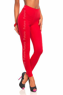Full Length Red Premium Cotton Leggings Comfortable & Stretchy Pants Sizes 8-22