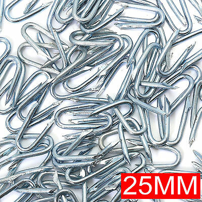 "25mm/1"" HEAVY DUTY STEEL U NAIL STAPLES~WEATHERPROOF~GALVANISED Fencing Netting"