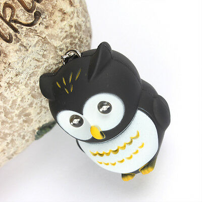 Black Owl Bird LED Make Sound Light Lovely New Fashion Cute Key Ring Chain Gift