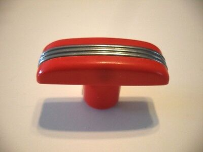 Vtg T-Handles RED BAKELITE Knobs Drawer or Door Pulls CHROME Strip Lines Handles