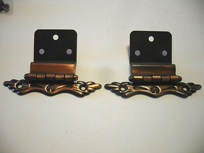 "Vintage NOS Japanned COPPER FLASH Cabinet Door Hinges 3/8"" Inset Ornate MCM"