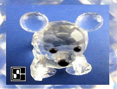 Swarovski Silver Clear Multi Faceted Crystal Small Bear Austria 1st Edition Old