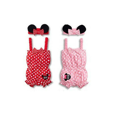 Newborn Baby Minnie Mouse Costume Girl Romper Bodysuit Ear Headband Clothes Set