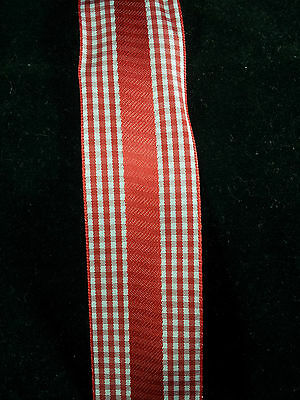 High Quality Wire Edge Ribbon 38mm wide Red & white Check satin Gingham New