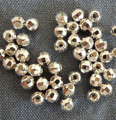 20 x Solid Sterling Silver Faceted Disco Ball Mirror Beads 4mm diameter