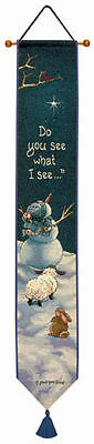 Do You See What I See ~ Snowman/Rabbit/Lamb Tapestry Wall Hanging Bellpull