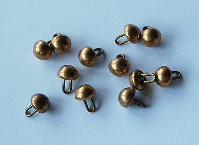 VINTAGE 12 SOLID BRASS ANTIQUE METAL SHOE BUTTONS 10mm