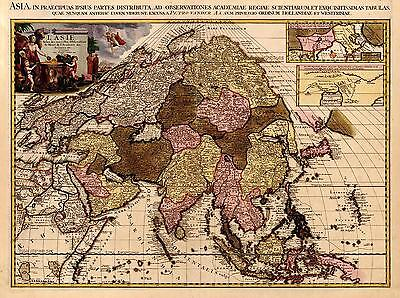 Reproduktion antik alt Farbe Map of Asien asiatische Continent Indien China