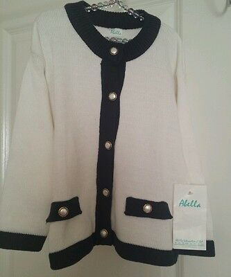 GIRLS VINTAGE 70'S CARDIGAN - AGE 4 YEARS - White/Blue  - HIGH QUALITY