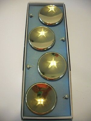 "Four Vtg NOS 2-1/2"" BRASS Plated KNOBS Round Concave Drawer Pulls Beveled Edge"