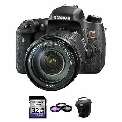 Canon EOS Rebel T6s DSLR Camera w/18-135mm STM Lens + 32GB, UV Kit & Case