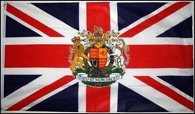 UNION JACK WITH ROYAL CREST 5' X 3' 5ftx3ft 150cmx90cm FLAG ENGLAND ROYALTY