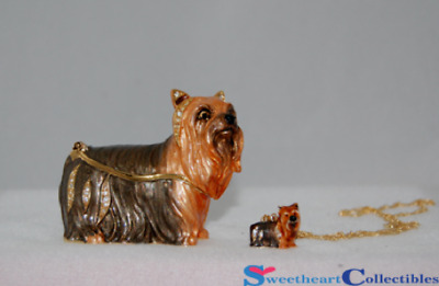 Yorkshire Terrier Bejeweled Trinket Box W/Necklace