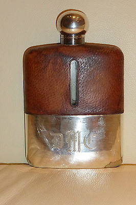 Abercrombie & Fitch Silver Plate and Leather Hip Flask James Dixon & Sons Design