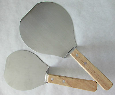 2 SS PANCAKE SPATULAS FLIPPERS EX. WIDE WOOD HANDLED KITCHEN UTENSILS NEVER USED