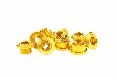 Aerozine A2 Bike Crank Chainring Bolts Nuts for Shimano Single/Double 7g Gold