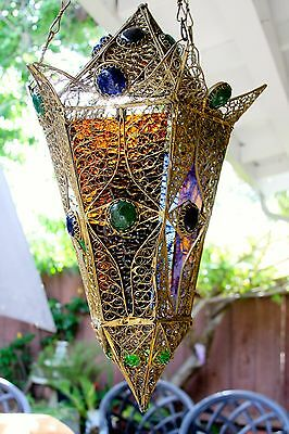 Antique Vintage Old Heavy Solid Brass Filigree Pendant Lamp Chandelier Lantern