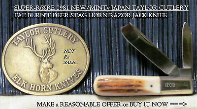 "RARE 1981 NEW/MINTy JAPAN TAYLOR FAT DEER STAG HORN RAZOR KNIFE,3 3/8""CLSD,6""OPN"
