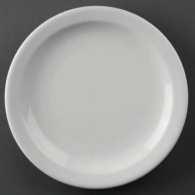 12X Athena Hotelware Narrow Rimmed Service Plates 8 In Porcelain White