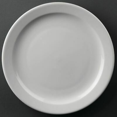 12X Athena Hotelware Narrow Rimmed Service Plates 10 In Porcelain White