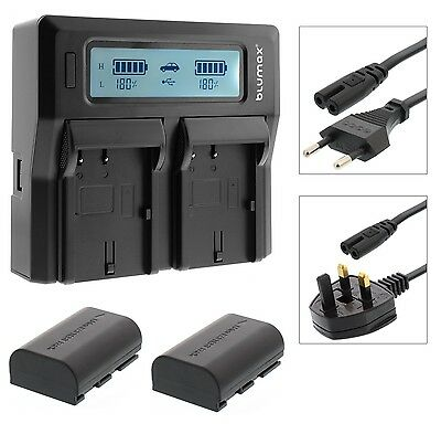 LP-E6 Dual LCD Charger with 2x LP-E6 Battery for Canon 70D 6D 7D 5D Mark 2 3 4