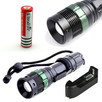 2000 Lumen CREE XM-L T6 LED Tactical Flashlight Torch Lamp+18650 Battery+Charger
