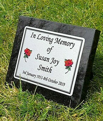 Personalised Grey Granite Engraved Memorial Grave Plaque Stone (Any Name/s)