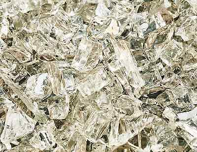 "10 Lbs of Fire Glass 1/4"" White Cloud Reflective Fireglass for Fireplace"