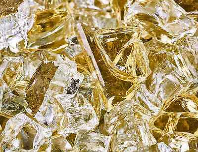 "10 Lbs of Fire Glass 1/2"" Gold Strike Reflective Fireglass for Fireplace"