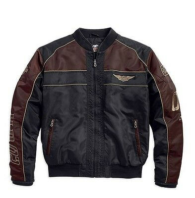 Mens Harley-Davidson Brown and Black Hex Head Quilted Nylon Jacket 97440-15VM