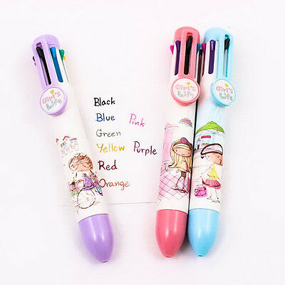 Cute Girl Life Chic Multicolors 8 Colours Ball Point Pen Stationery DIY A0475
