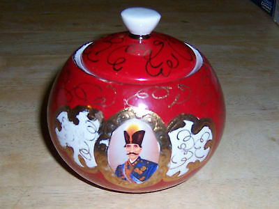 ~~  KYOTO CHINA ~~ RED & GOLD  BOWL EMPEROR PORTRAIT ~