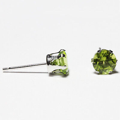 5mm Round Cut Peridot 925 Sterling Silver 6-Prong Earrings August Birthstone