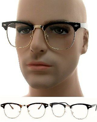 Retro Clubmaster Clear Lens Nerd Frames Glasses Mens Womens Half Metal
