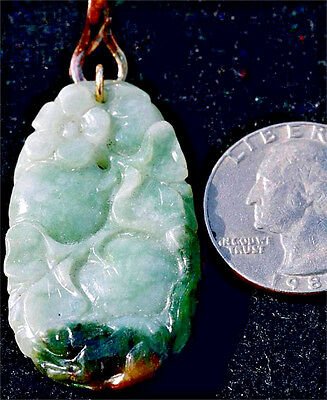 Private Collection~Vintage~Hand Carved Jadeite~Pendant~Ss Bale~Peach Blossom~Nr!